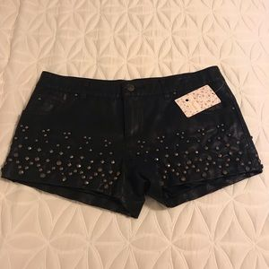 Free People Faux Vegan Leather Studded Shorts NWT